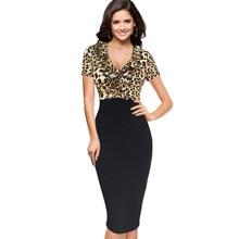 Hot Designer Women Summer Dress Short Sleeve Mid Calf Leopard Sexy Sheath Dresses 4XL Plus Size Club Deep V Neck Dresses