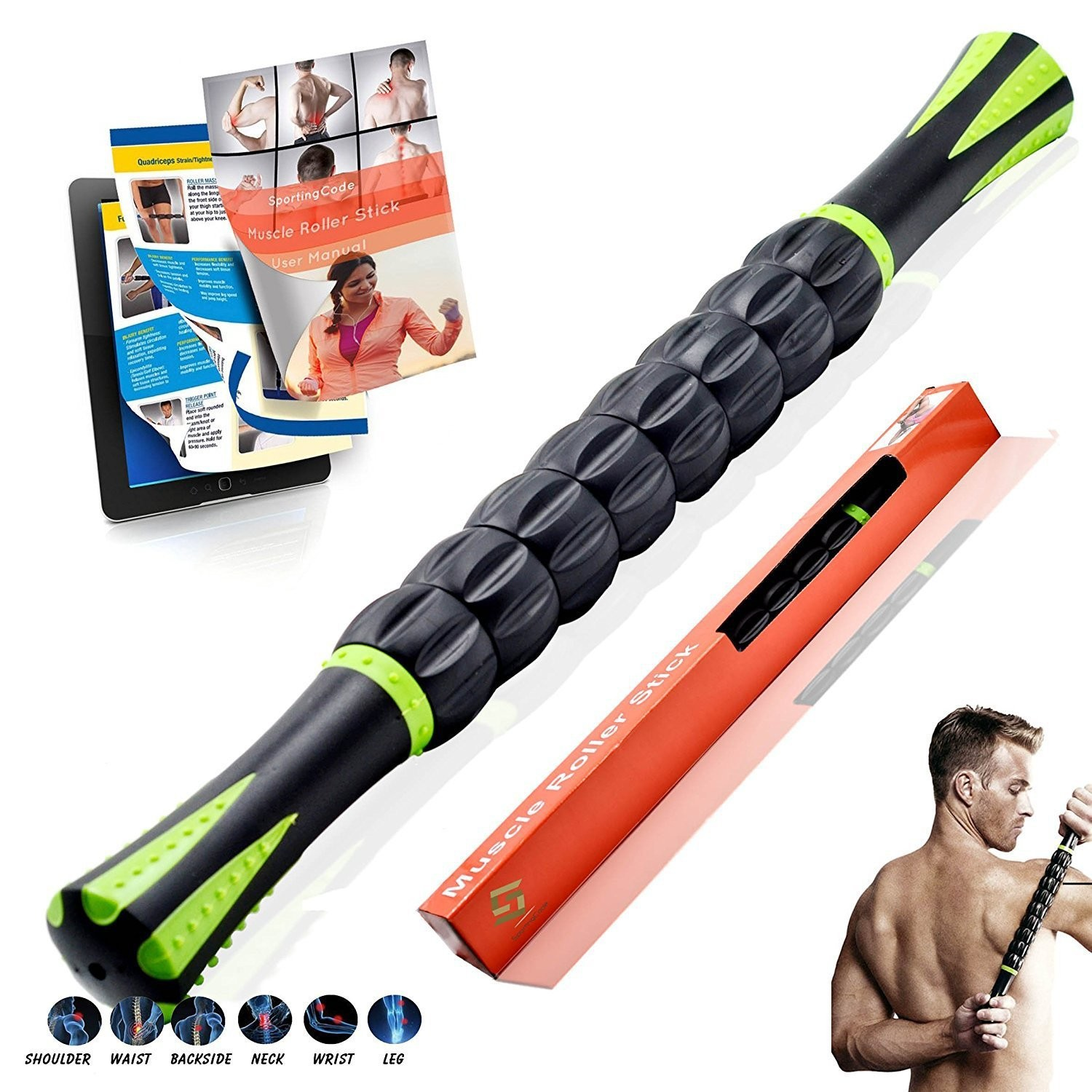 Gear muscle massage stick, deep muscles relax fascia, 3D Muscle Roller Stick dynamik muscle dynamik muscle eviscerate 90