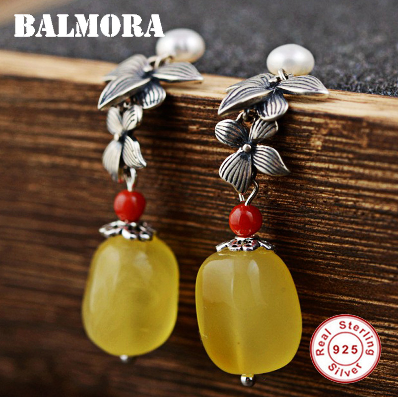 BALMORA 100% Real 925 Sterling Silver Beeswax Earrings for Women Mother Gift Earrings Vintage Fashion Jewelry Brincos TRS31073 fashion 925 sterling silver vintage nature beeswax