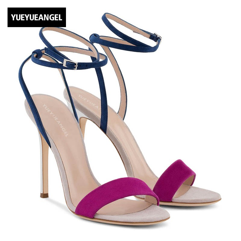 2018 New Summer Women Sexy Thin High Heels Party Sandals Elegant Ankle Strap Dress Shoes Open Toe Large Size Night Club Footwear