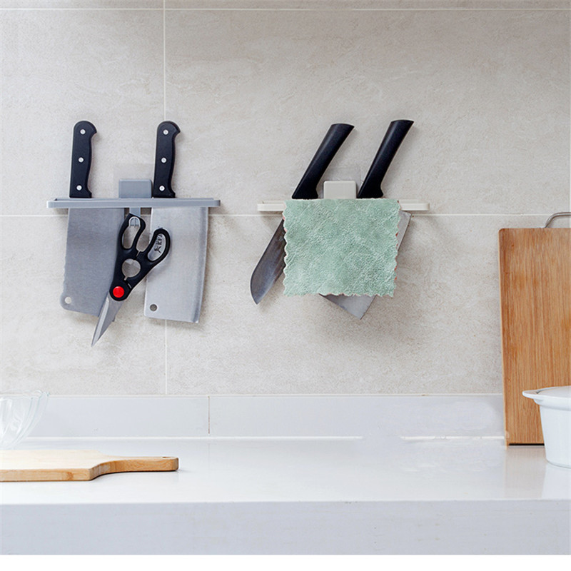 Punch-free Kitchen Shelf Wall-mounted Kitchen Knife Holder Household Plastic Knife Holder Wall Rag Bar Kitchen Accessories