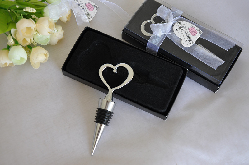 Wedding gifts for guests 100pcslot Chrome Heart Bottle Stopper