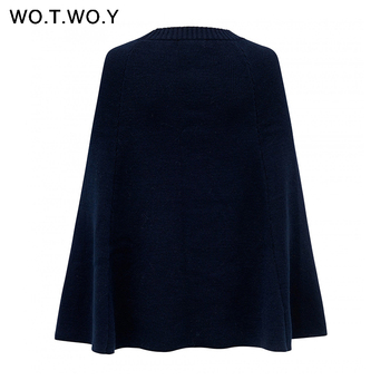 WOTWOY 2019 Knitted Cloak Sweater Women Casual Loose Shawl Autumn Winter Streetwear Poncho Women Sweater And Pullovers Plus Size 8