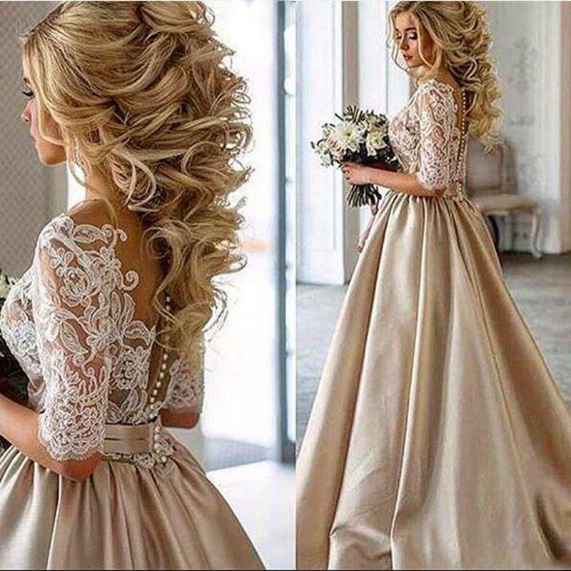 Evening Dresses Long 2019 Half Sleeves Champagne Satin A Line Prom Dress Formal Dress Women Elegant Vestidos De Gala