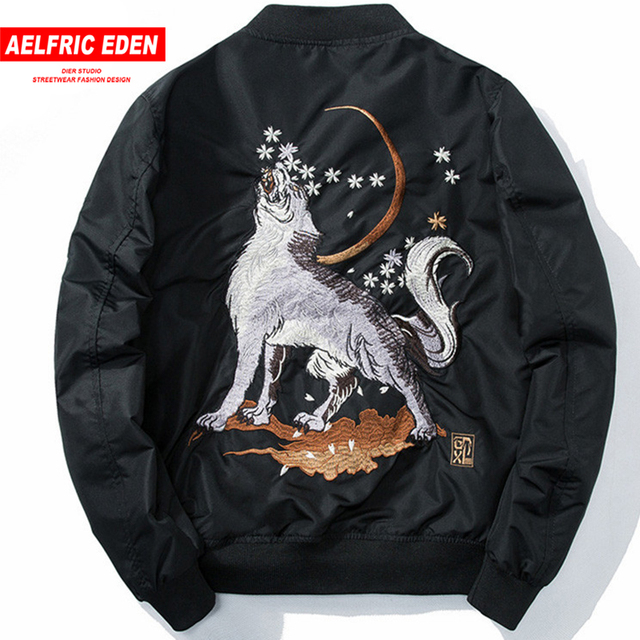 Aelfric Eden 2018 Autumn Men Ma-1 Bomber Jacket Harajuku Wolf Embroidery Fashion Streetwear Casual Baseball Jackets Coats LQ22
