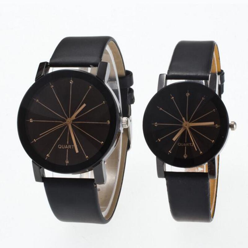 Fashion Couple Watch Leather Lover Watch Classic Black Creative Couple Gift Geometry Quartz Luxury Band Casual Watch