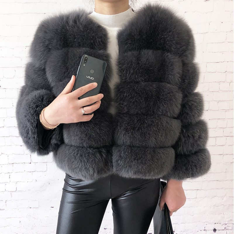 2019 new style real fur coat 100% natural fur jacket female winter warm leather fox fur coat high quality fur vest Free shipping 64