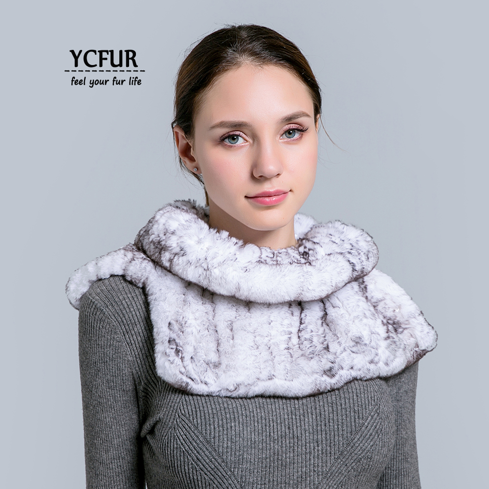 [YCFUR] Winter   Scarf   Shawl Women Real Rex Rabbit Fur   Scarves     Wraps   For Women Neck Warmer   Scarf     Scarves   Shawls Female