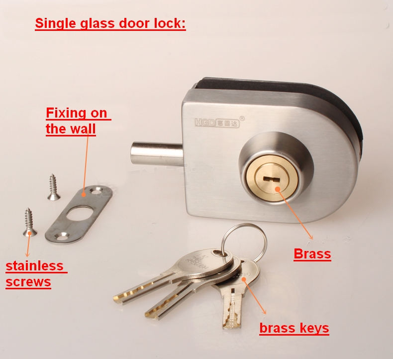 Luxury glass door lock,Single lock,stainless steel lock(DFGL-015)