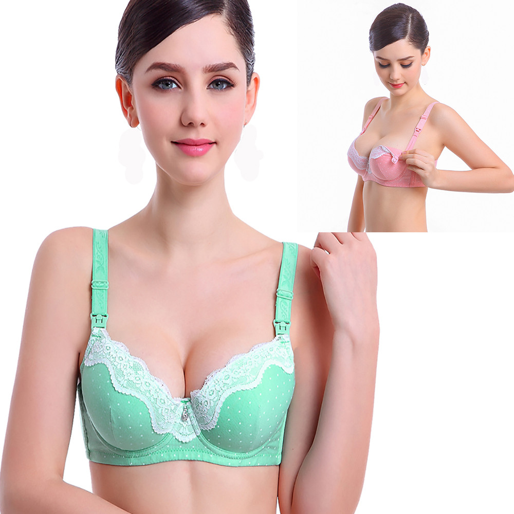 aa9bf9dca91 Women Feeding Nursing Bras Padded Pregnant Maternity Solid Lace ...