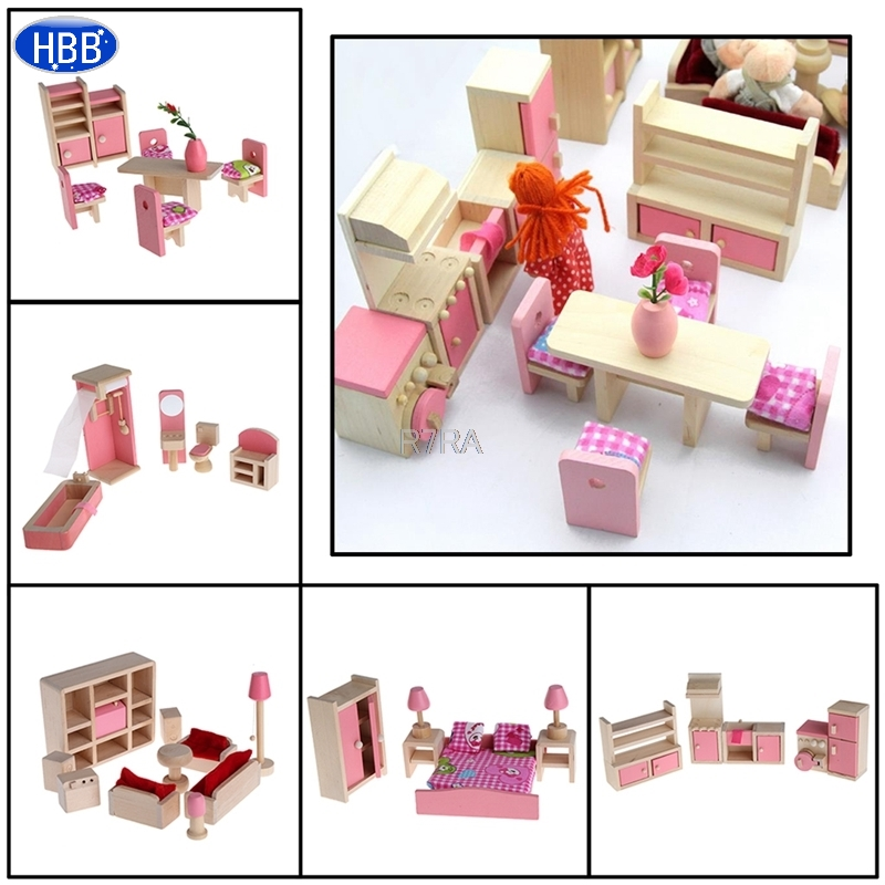 Wooden Furniture Dolls House Miniature 5 Room Set Doll For Christmas Gifts Kid Pretend Play
