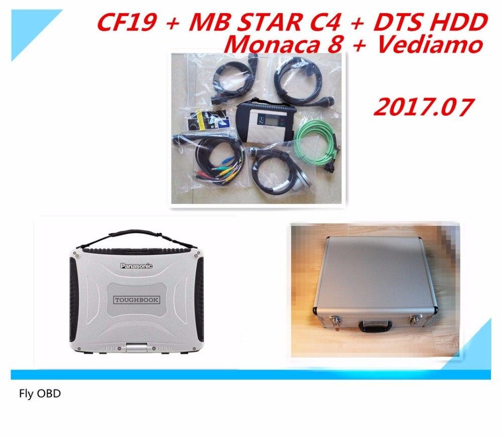 Цена за Высокая для Mercedes Compact диагностики MB Star C4 подключения WI-FI SD 2017.07 Программное обеспечение HDD и ноутбуков CF19 кабель инструмент диагностики сканер
