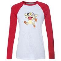 IDzn Women S T Shirt Cute Pokemon Togepi Cat Meowth Alakazam Beedrill Horse Ponyta Long Sleeve