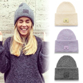 Smile embroidery box labeling couple models in autumn and winter wool hat knitted hat pointy hat