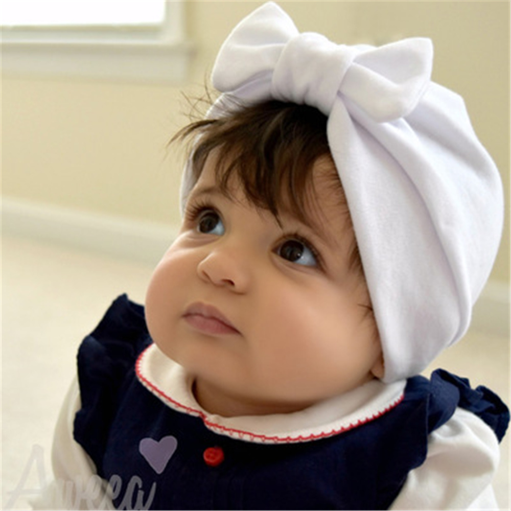 Baby Kids Cotton Bow Knotted Hat Cap Girls Boys Solid Turban Beanie  Toddlers Large Bow Infant Hats Caps Newborn Head Accessories-in Hats   Caps  from Mother ... 91b7c8186078