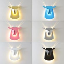 Macarons Nordic Restaurant Wall Creative Simple Iron Bedside Lamp cattle heads shape Led Aisle Stairs  Wall Lamp N1351