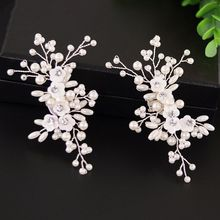 Elegant DIY High Heel Charms Decoration Shoe Clip Simulated Pearl Floral Beads Women Shoes Clips Buckle Fashion Clothing Sandals eykosi new fashion 2pcs shoe decoration clothes diy leaves flower ornaments charms removable floral hot 2018