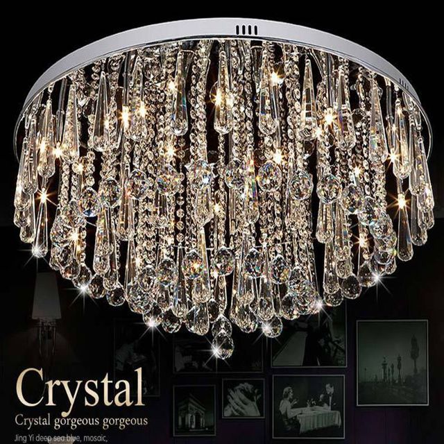 Modern Round Crystal Lamp LED Bulb Light Fixtures Living Room Lamp Ceiling  Lamps Warm Bedroom Lamp