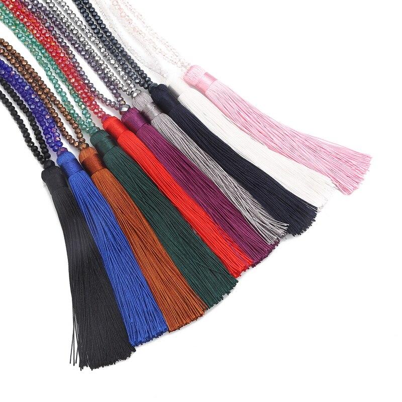 LOVBEAFAS Fashion Boho Long Fringe Tassel Necklaces Women Collier Femme Glass Beaded Crystal Bohemian Fine Jewelry