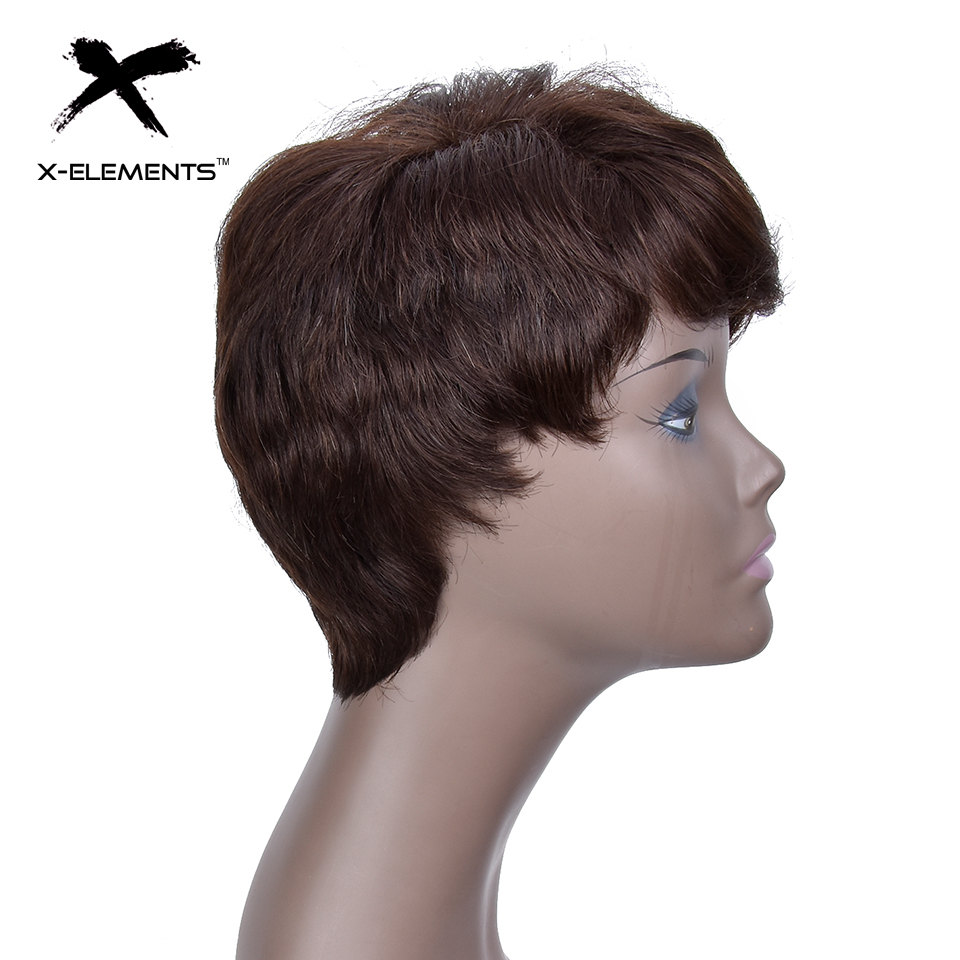 X-Elements Peruvian Short Human Hair Wigs With Bangs H.VERA Non-Remy Machine Made Natural Wave Hair Wigs For Women No Smell (3)