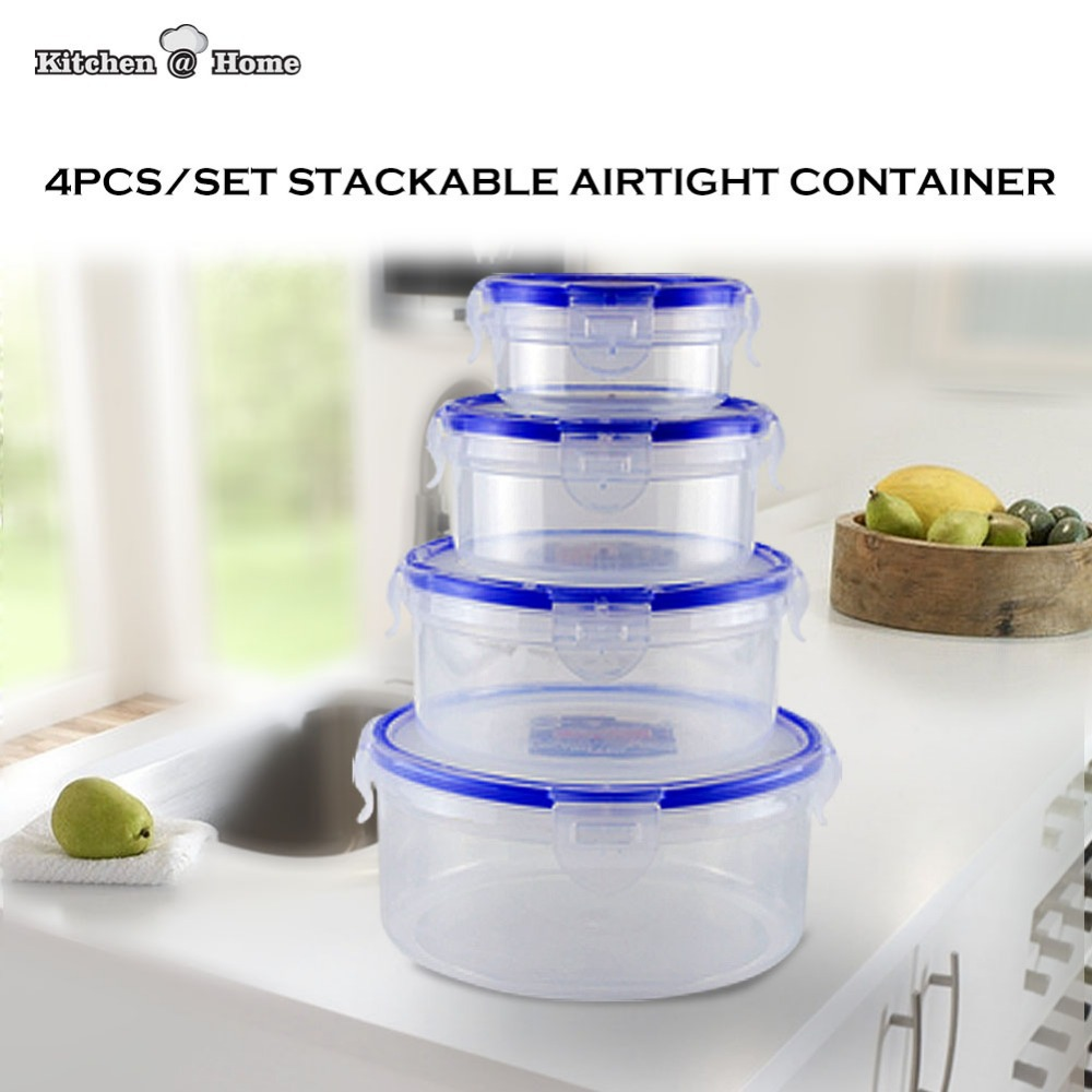 4PCS/Set Clear Airtight Food Storage Containers Keeper Stackable Plastic Fresh Lunchbox Bento 1300ML,650ML,350ML,150ML KK004