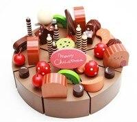 Candice guo! vendita calda della casa del gioco giocattolo di legno simulational torta al cioccolato cut set bambini buon compleanno regalo 1 pz