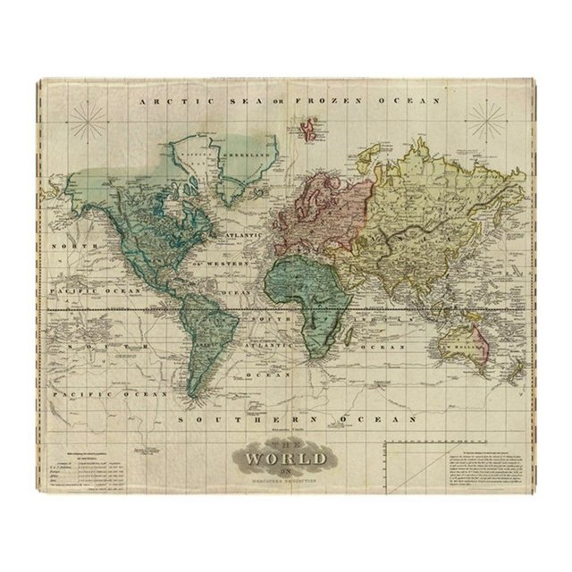 Vintage map of the world 1823 soft fleece throw blanket super soft vintage map of the world 1823 soft fleece throw blanket super soft printing family gumiabroncs Gallery