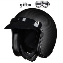 Free  3/4 open face vintage motorcycle helmet black inner lining carbon fiber shell for moto style retro moto helmets free shipping fashion brand torc vintage motorcycle helmets matte black captain america goggles retro vintage style ece