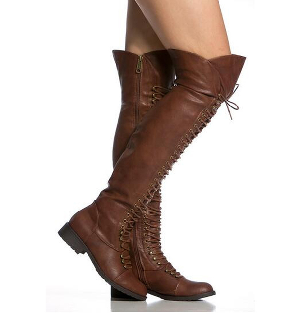 66335bdc8a0 Women Winter New Lace-up Leather Over Knee Flat Boots Brown Black Zipper-up  Long Knight Boots High Quality Warm Boots Size 42
