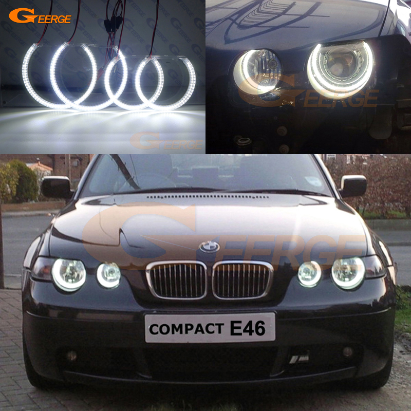 For BMW E46 3 Series Compact 2001-2005 Excellent led Angel Eyes Ultra bright 3528 SMD led Angel Eyes Halo Ring kit DRL неоновые кольца angel eyes duntuo smd 60 2