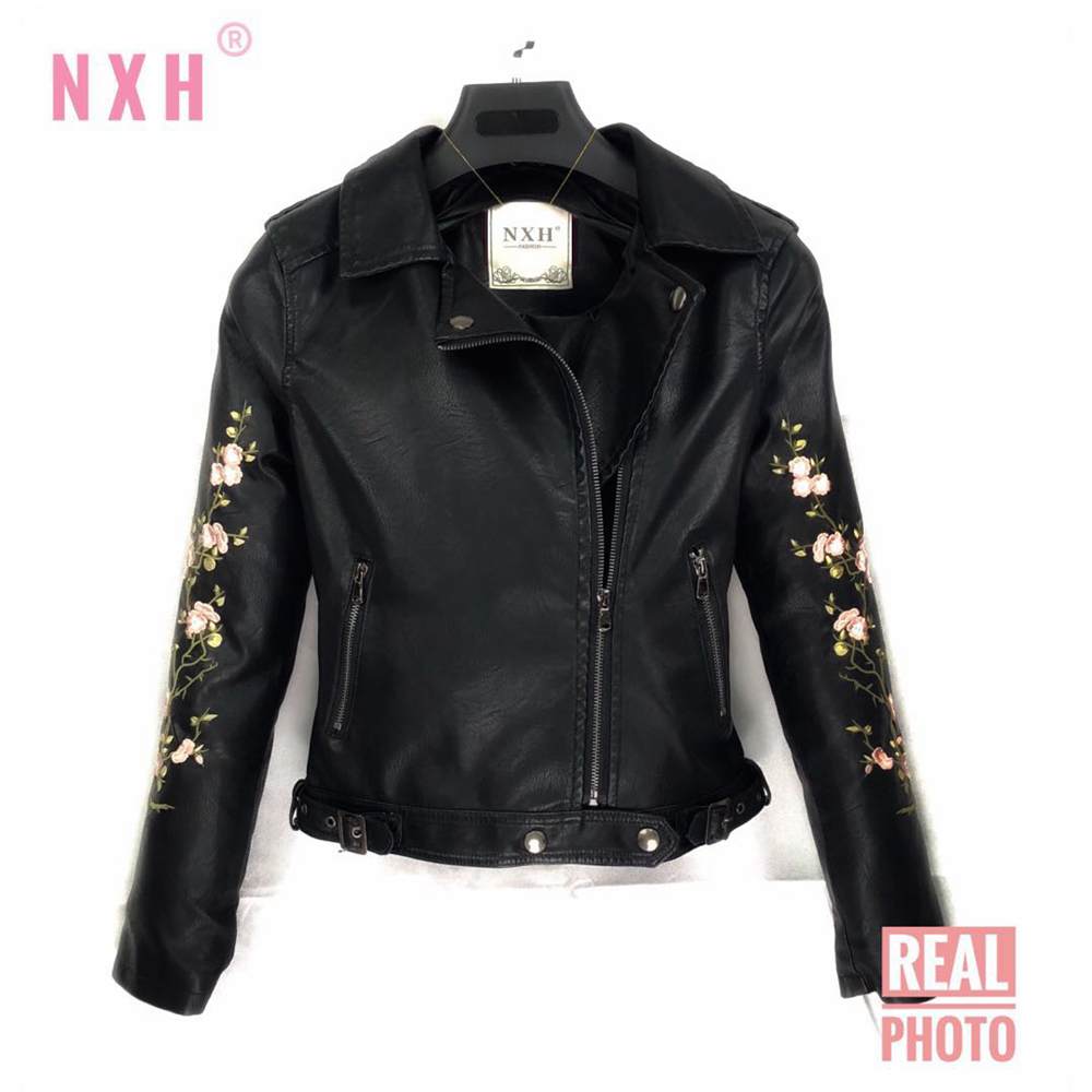 Real photo Women Punk Clasic zipper   Leather   jacket Autumn Winter Good Quality Motorcycle Embroider Black PU Coat FAUX soft Lapel
