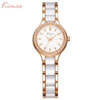 Relojes de las mujeres vestido de marca de fábrica de KIMIO reloj de cuarzo Elegante reloj de señoras de la pulsera pulsera 2017 regalo de la muchacha caliente de Oro Con Encanto de La Cadena