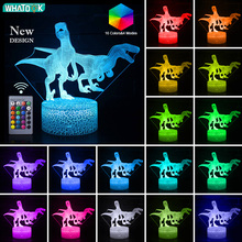 3D Dinosaur Illusion lamp LED Night Light 16 Color Table Desk Lamp USB Decor Touch Remote Kids Holiday Christmas Party Gift Toy cool creative pokemon espeon 3d lamp usb cartoon night light led 7 color touch table lamp children christmas gift hui yuan brand