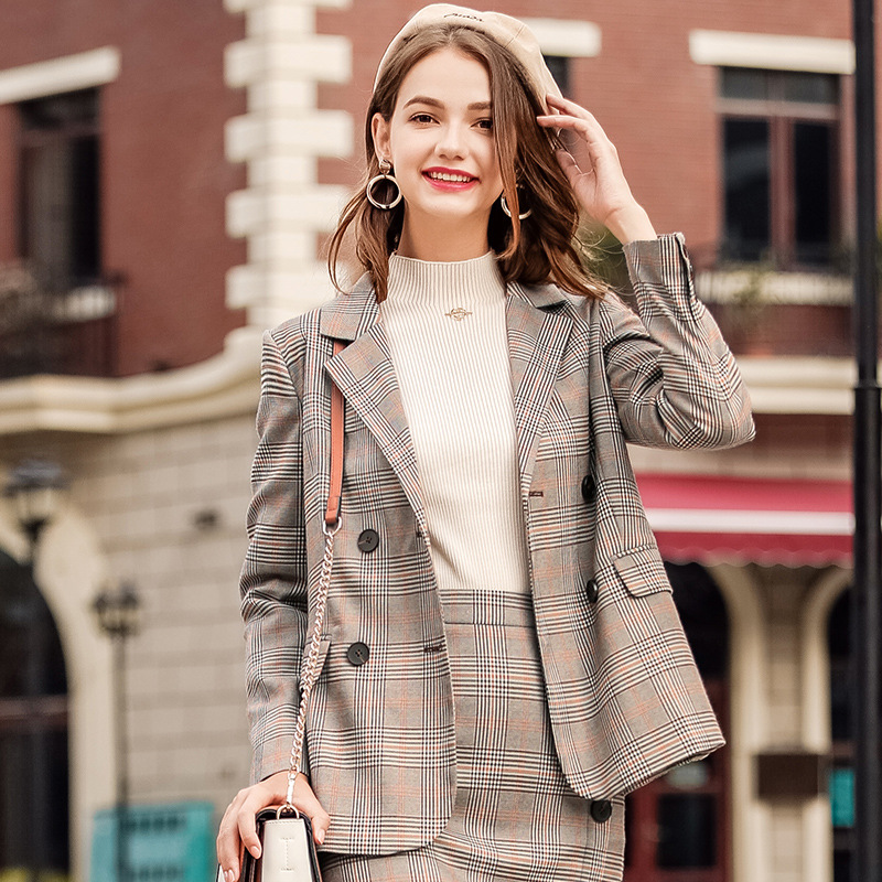 FOGIMOYA Blazers 2018 Autumn New Boutique Women's Retro Plaid Jacket Chic Double-Breasted Small OL Office Suit Jacket Female New