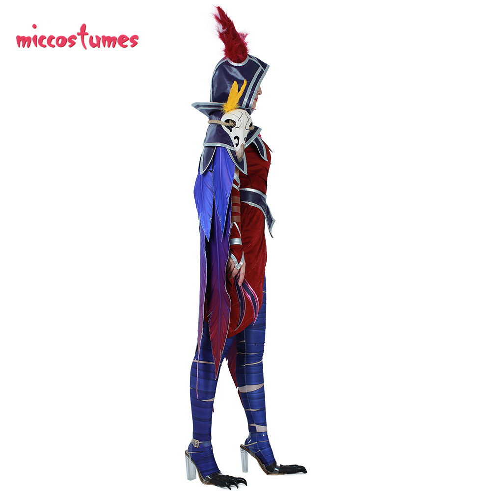 Image 4 - Xayah Cosplay Costume Woman The Rebel Halloween Outfit with Ears, Bird feet covers and Skull decoration-in Game Costumes from Novelty & Special Use
