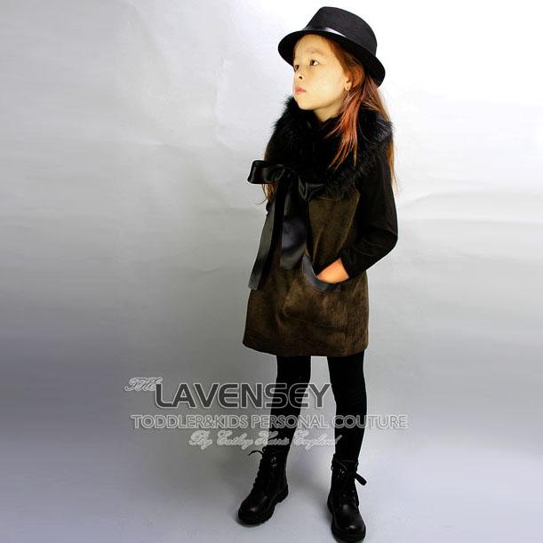 ФОТО Lavensey Children Autumn & Spring Girls Vests Retro Fur Collar Baby Girl Dress With Fashion Pockets Girls Clothing Dresses