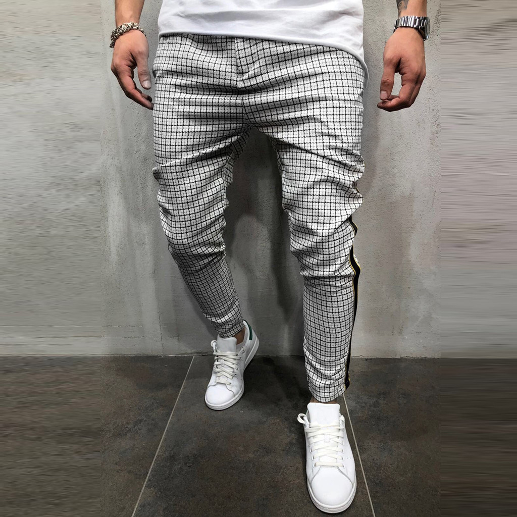 Clothing - Stripe Splicing Pocket Sport Work Casual Trouser Pants