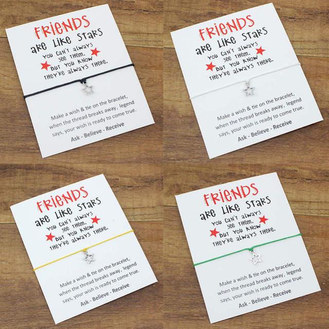 Placeholder New Design Sisters Lovely Handchain Wish Card Stars Bracelet For Best Friends Birthday Gifts Girlfriends Alloy