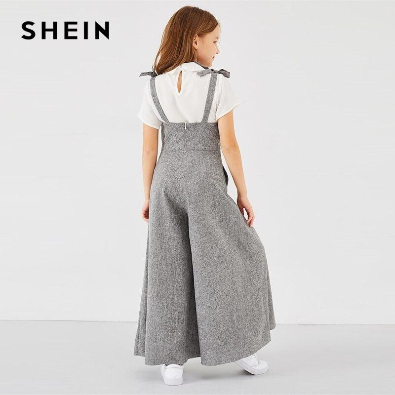 SHEIN Kiddie Grey Zipper Back Bow Strap Casual Girls Jumpsuit Mother Kids 2019 Spring Sleeveless High Waist Flare Leg Jumpsuits