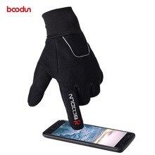 BOODUN Men Women Winter Waterproof Cycling Gloves Full Finger Touch Screen Reflective Thicken Road Mountain Bike MTB