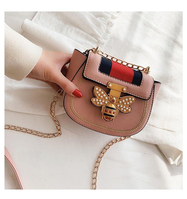 Imitation Designer Bags Fashion Bee Shoulder handbag for women Luxury Round PU Cross body Chain Bag Pearl Metal Lock Women's Bag (7)