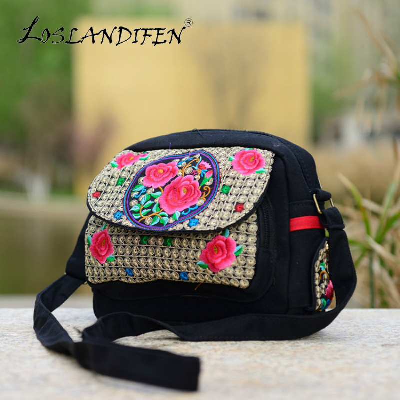 New china style double-sided embroidery crossbody bag canvas embroider rose peony azalea 3 layer zipper women small shoulder bag