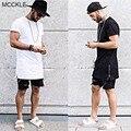 MCCKLE Hi-Calle Nueva Moda Para Hombre de Larga Camisetas Estilo Europeo Oro Cremalleras Laterales Hip Hop de Manga Corta de Gran Tamaño Camisetas para hombre