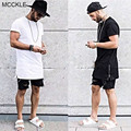 MCCKLE Hi-Street  New Fashion Mens Long T Shirts European Style Gold Side Zippers Hip Hop Short Sleeve Oversized Mens Tees