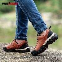 New Popular Men Outdoor Hiking Shoes Wear Resistance Waterproof Athletic Shoes Zapatilla Masculino Genuine Leather Free Shipping