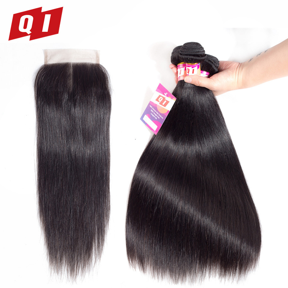 QI Hair Natural Color 3 Bundles With 4*4 Lace Closure Indian Straight Human Hair Bundles With Closure Non Remy Free Shipping