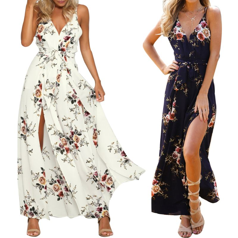 Women Sexy High Split Wide Leg Loose   Jumpsuit   Sleeveless V-Neck Backless Boho Floral Printed High Waist Bow Tie Playsuits