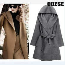 2014 New Autumn And Winter Model Slim Stable Lengthy Belt Girls Trench Woolen Hooded Coats D3138