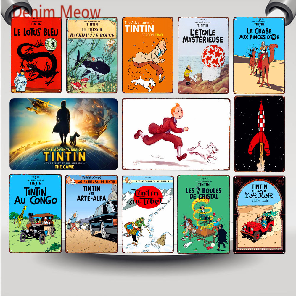 Tintin Catoon Movie Tin Sign Metal Plate Vintage Wall Art Poster Iron Painting Bar Coffee Kids Room Craft Home Decor WY66
