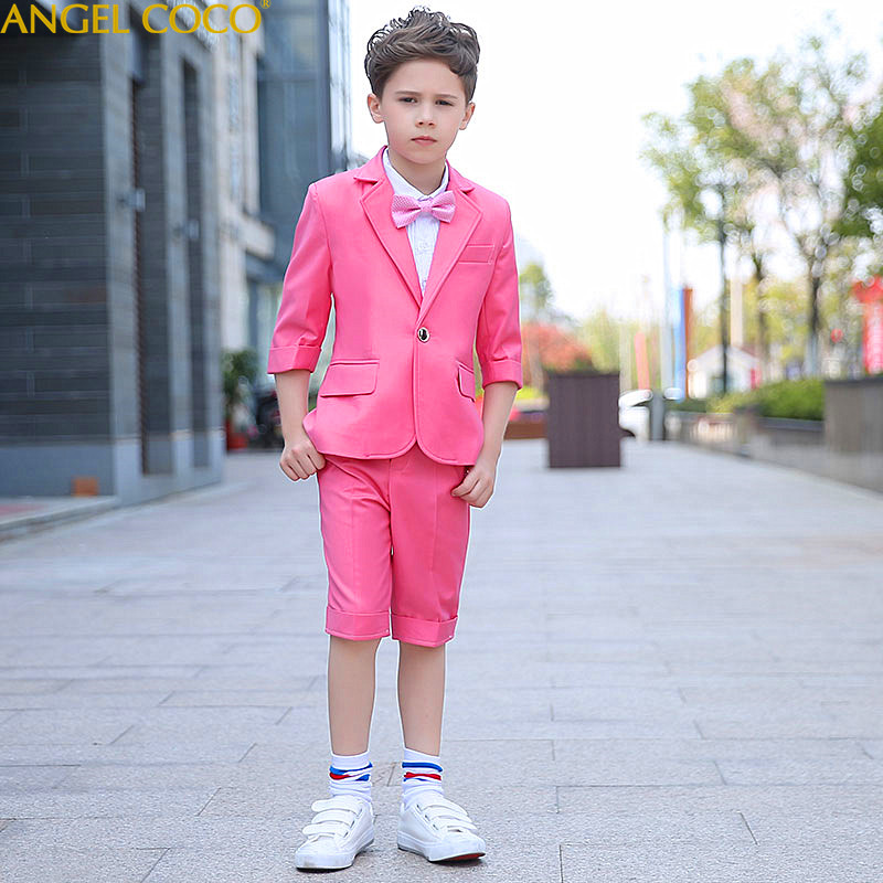 Pink Suit Blazer For Boy Single Breasted Boys Suits For Weddings Costume Enfant Garcon Mariage Boys Blazer Jogging Garcon color block splicing single breasted plus size thicken blazer page 2